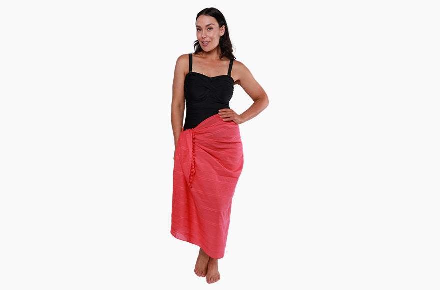 red long sarong cover up