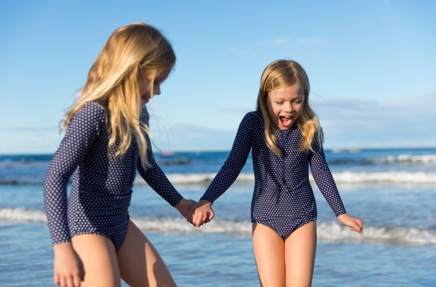 Kids Navy and White Dots long sleeve one piece swimsuit