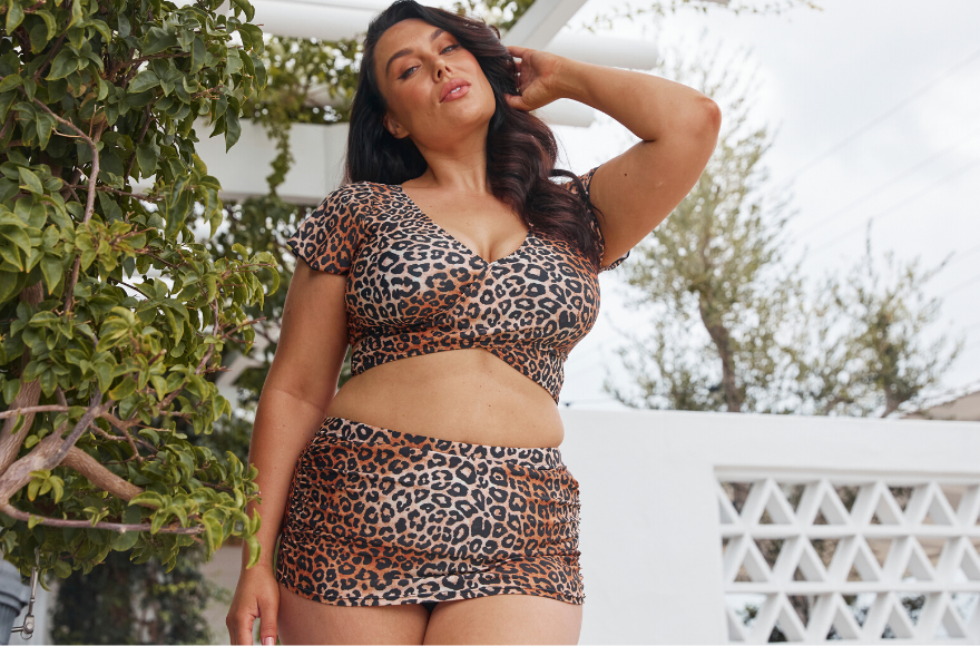 Leopard Ruched Skirted Pant and Crop Wrap Top