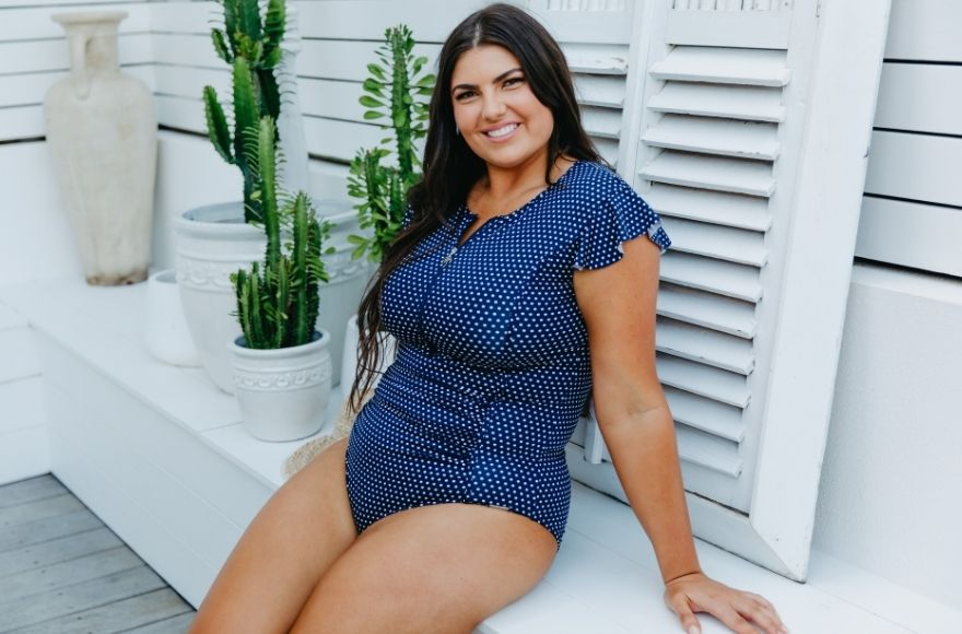 Navy and White Dots Frill Sleeve One Piece