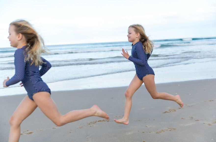 Navy and white dots kids long sleeve one piece swimsuit