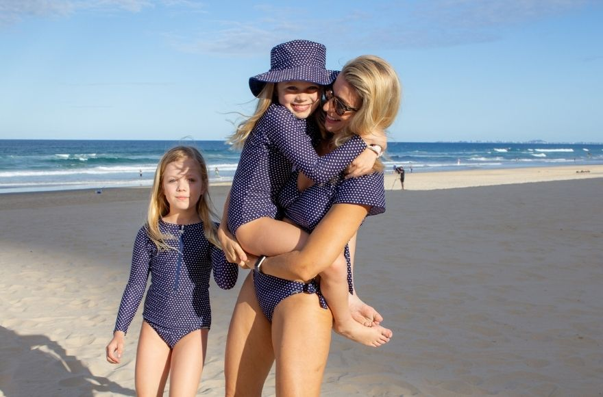 Navy and White Dots matching kids swimwear collection