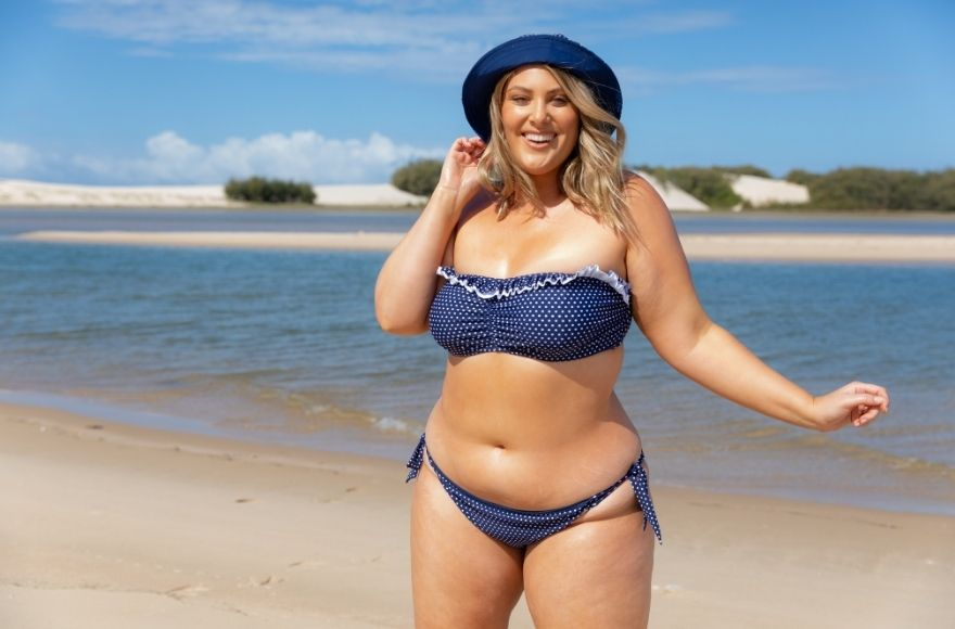 Navy and White Dots Reversible Pool Hat and Bandeau Bikini Top
