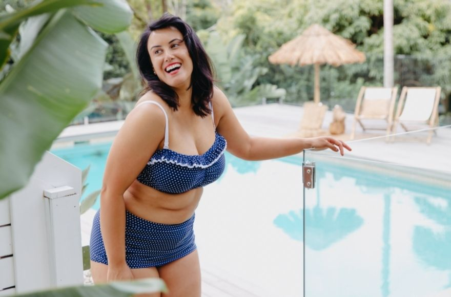 Navy and White Dots Ruched Skirted Pant and Bandeau Bikini Top