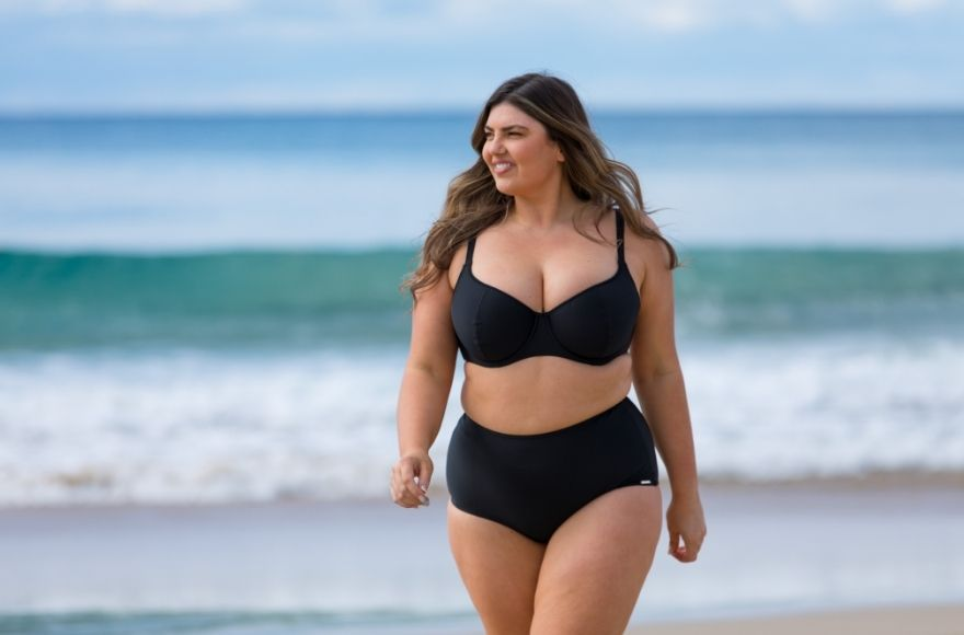 Woman wearing plus size black bikini