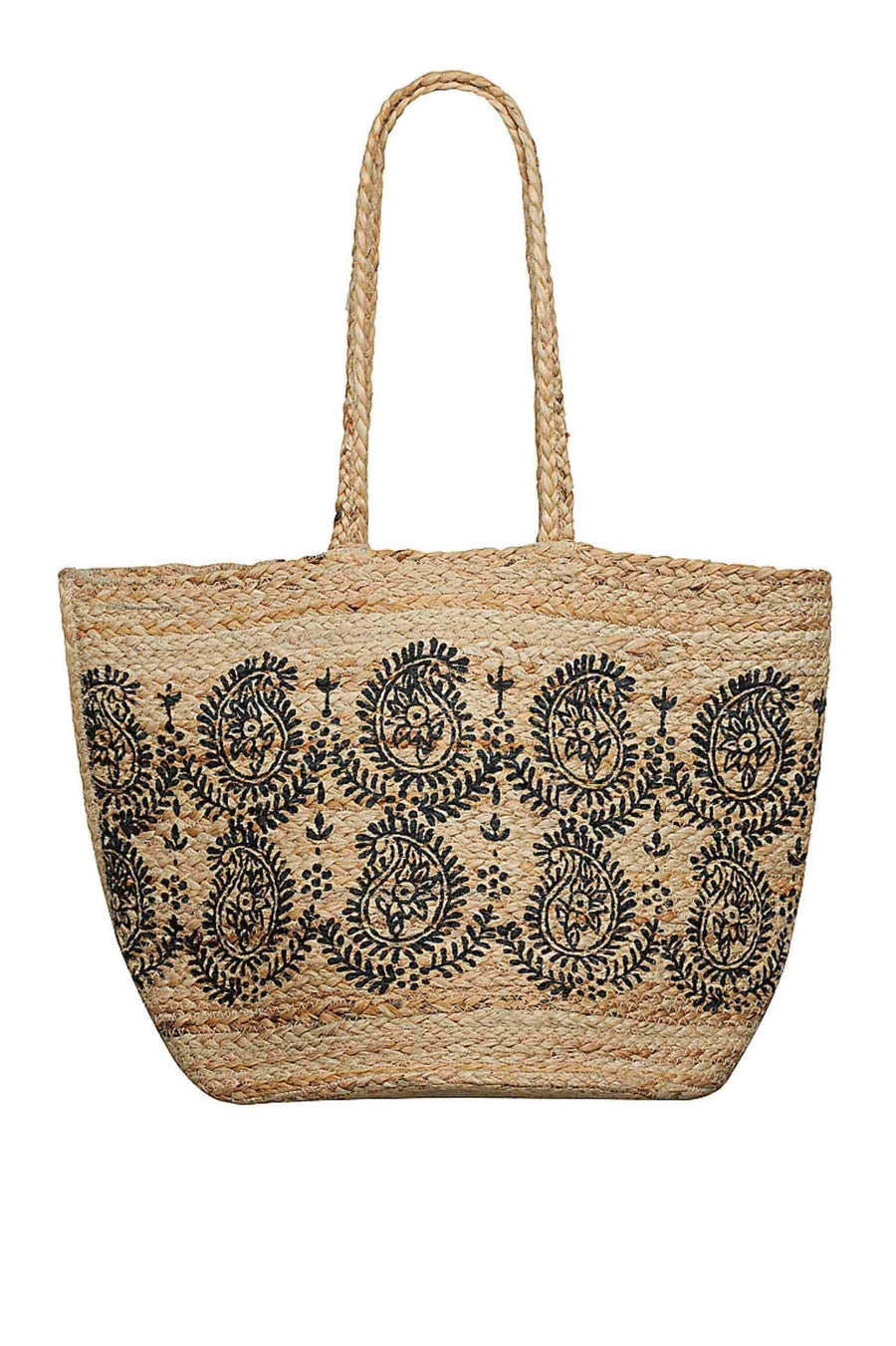 Beach Bag - Natural Paisley Printed Capriosca Swimwear Australia