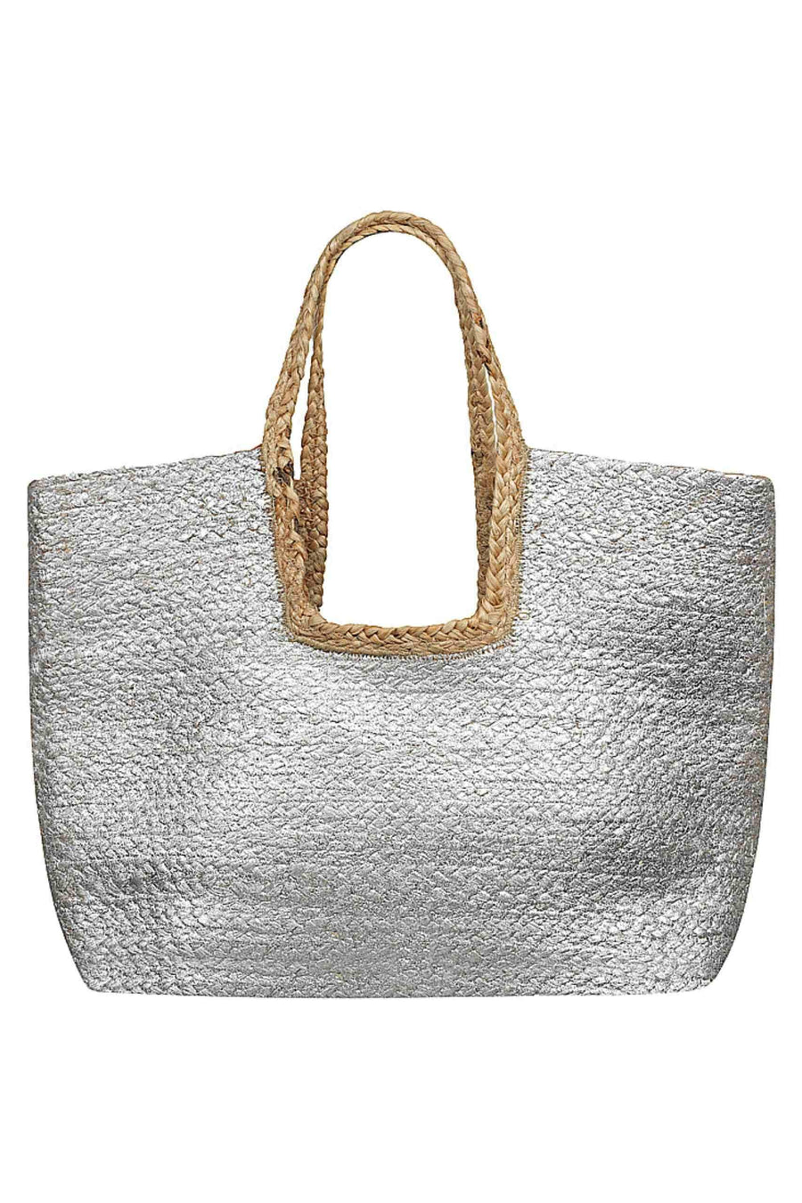 Beach Bag - Natural and Silver Capriosca Swimwear Australia