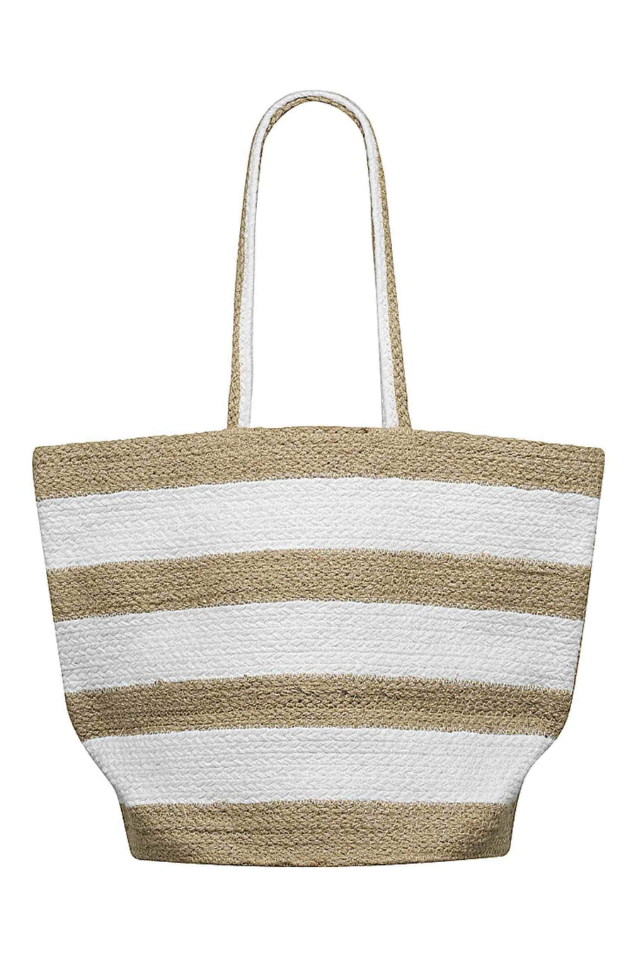 Beach Bag - White and Natural Stripe Capriosca Swimwear Australia