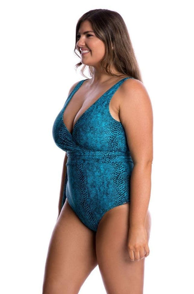 Wrap Low Back One Piece Swimwear | Turquoise Snake Swimwear Capriosca Swimwear