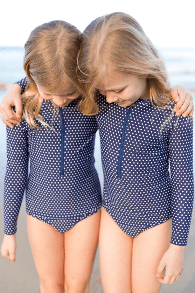 Kids Navy Dots Long Sleeve One Piece