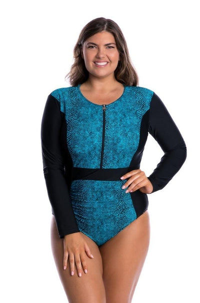 Women's Long Sleeve One Piece Swimsuit with Zip | Turquoise Snake Swimwear Capriosca Swimwear