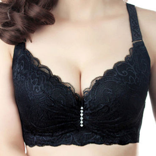 Hot 2017 New Sexy Ladies Big Size 3/4 Cup Lace Push Up Bra Women Black Bralette Deep V Bras Underwear Large Cup C D Plus Size