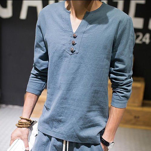 Long Sleeve V Neck Cotton Linen Shirt