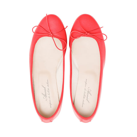 Leather Ballerina Scarlet Red