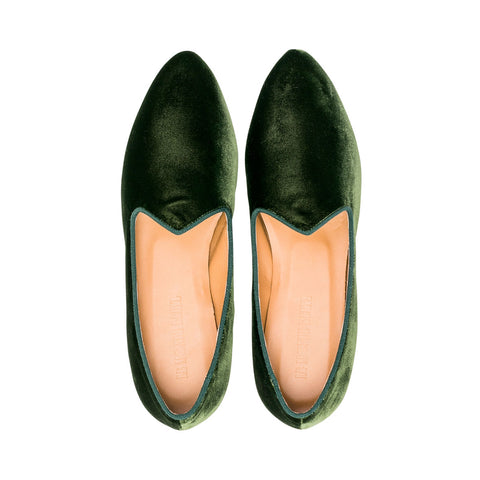Velvet Venetian Slipper Forest Green