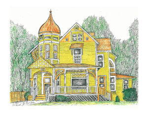 Architecture Print - Yellow Victorian #005