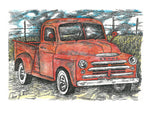 Truck Print - Red Dodge #011