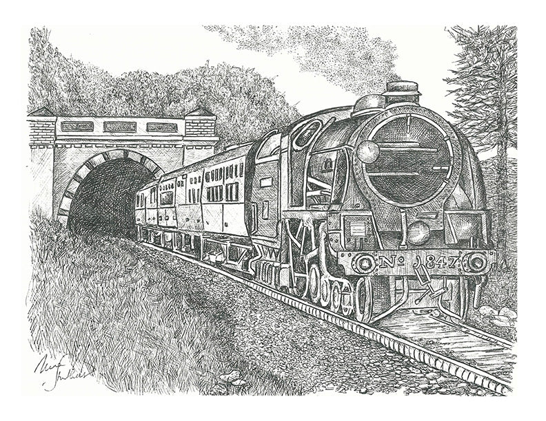 Train Print - Train Emerging from Tunnel #016