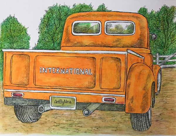 Truck Print - Orange International Truck #151