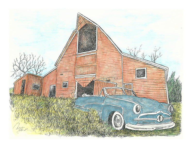 Barn Art - Blue Car and Red Barn #025