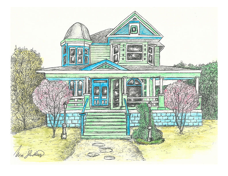 Architecture Print - Blue Green House #027