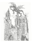 Architecture Print - Dragon on Castle #029