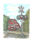 Train Print - Red Train at Railroad Crossing #032
