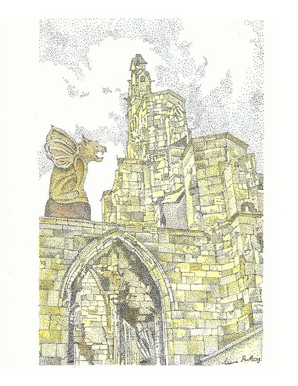 Architecture Print - Gargoyle on Brick Building #033