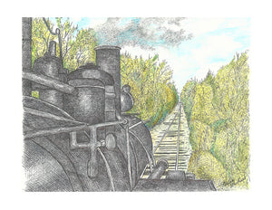 Train Print - Locomotive on Tracks #039