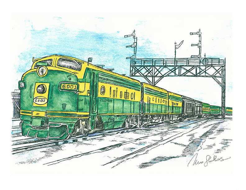 Train Print - Green and Yellow Train #042