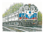 Train Print - Red, White and Blue Train #045
