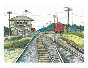 Train Print - Rosenberg Cross Tracks #049a