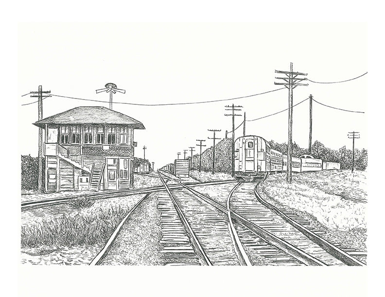 Train Print - Rosenberg Cross Tracks at Station #049b