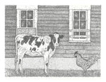 Animal Print - Calf and Chicken B+W #073
