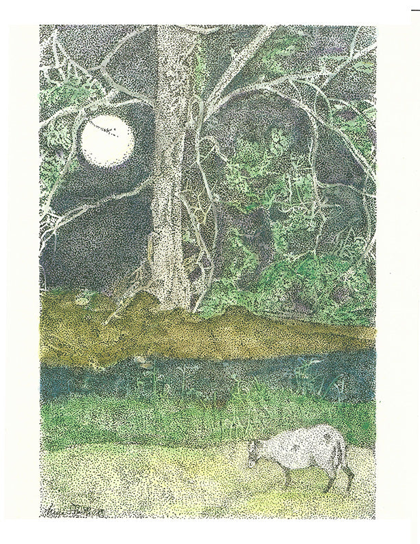 Animal Print - Moonlit Sheep #075