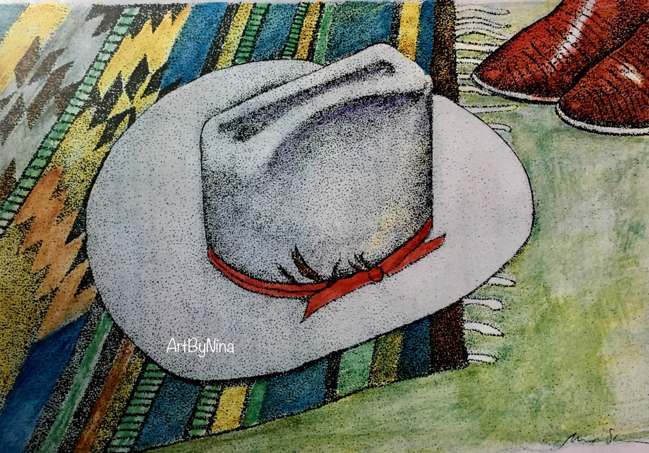 Still Life Print - Cowboy Hat and Boots #297