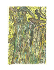 Nature Print - Tree and Raven Fantasy #084
