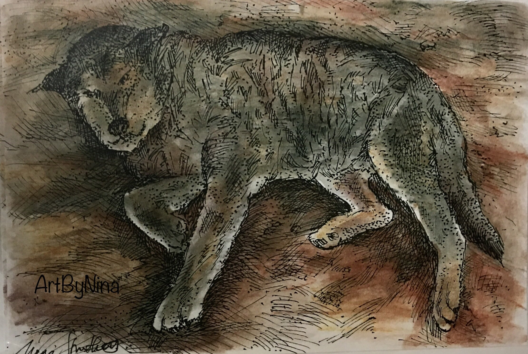 Animal Print - Old Sled Dog #217