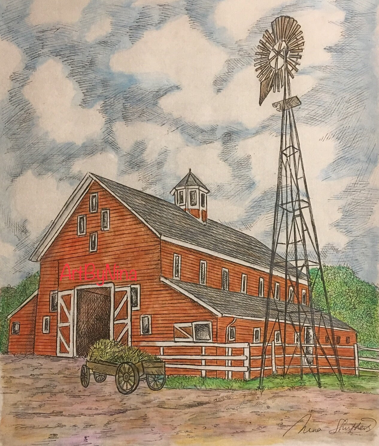 Barn Art - Red Barn with Windmill #266