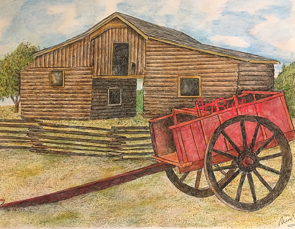 Barn Art - Log Barn with Wagon #269