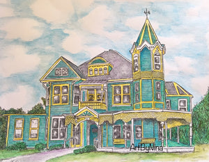 Architecture Print - Aqua and Yellow Victorian #197