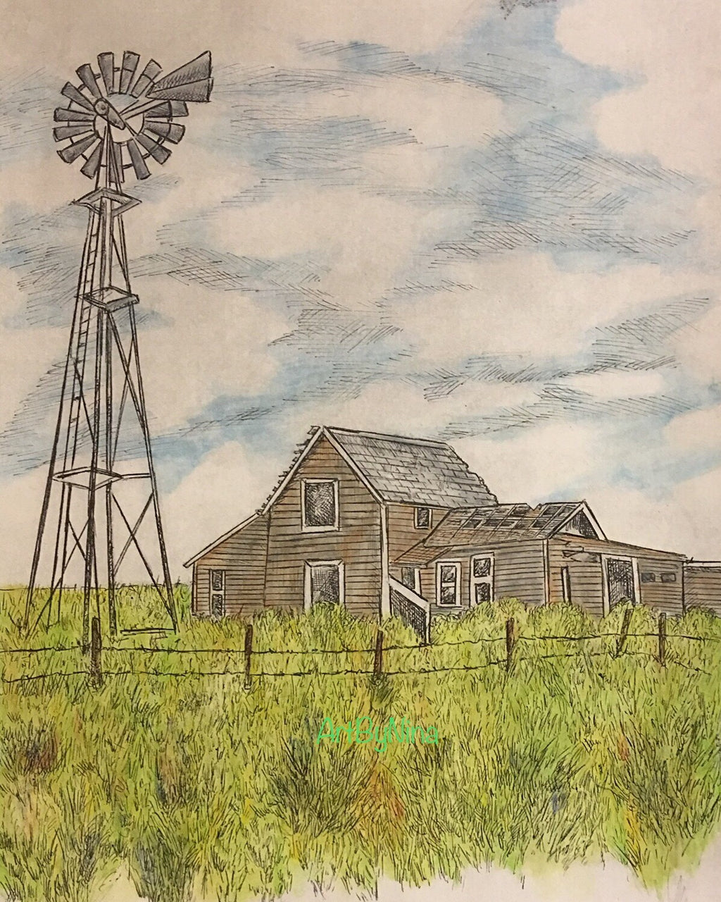Barn Art - Brown Art with Windmill #272