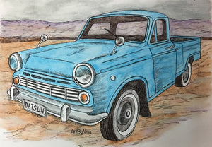 Truck Prints - Blue Datsun #147