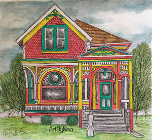 Architecture Print - Green, Red & Yellow Quaint House #182