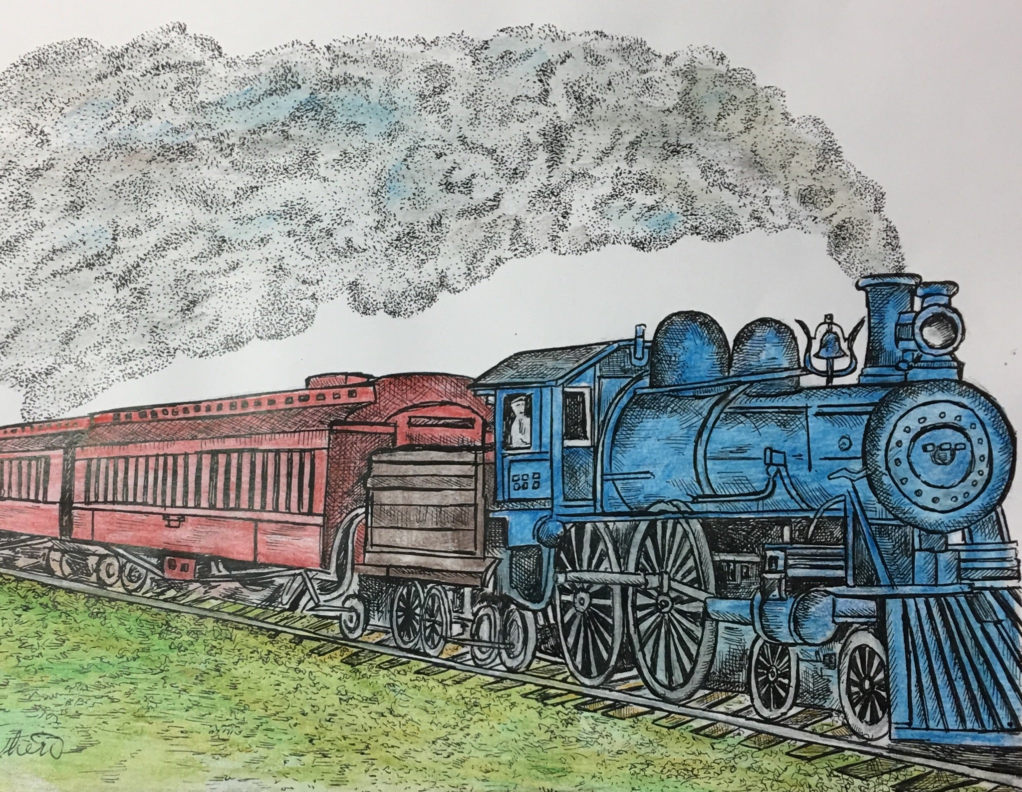 Train Print - Blue Locomotive #275