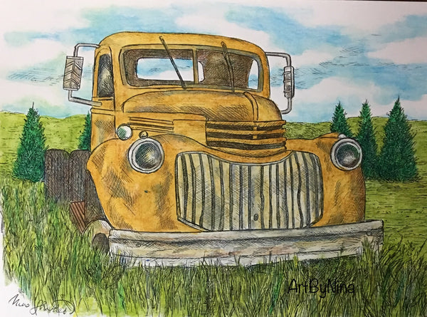 Truck Print - Rusty Truck in Field #148