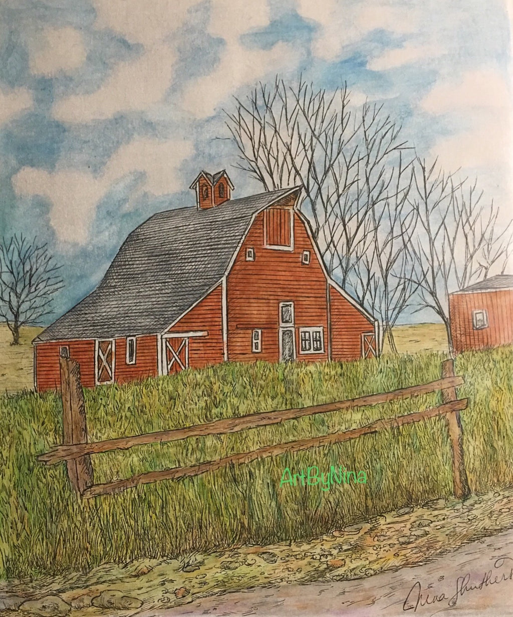 Barn Art - Red Barn with Fence #287