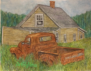 Barn Art - Barn with Rusty Truck #267
