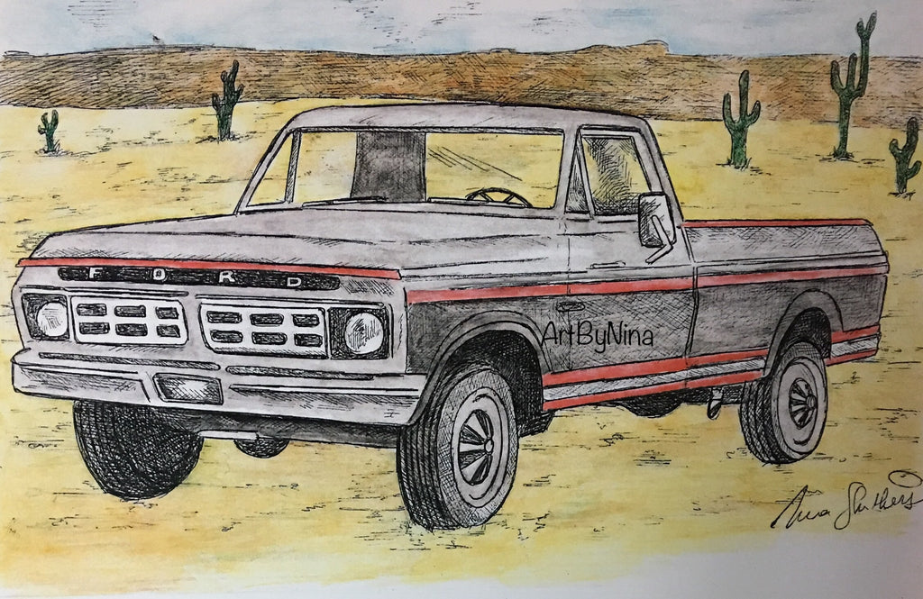 Truck Print - Grey & Red Ford #161