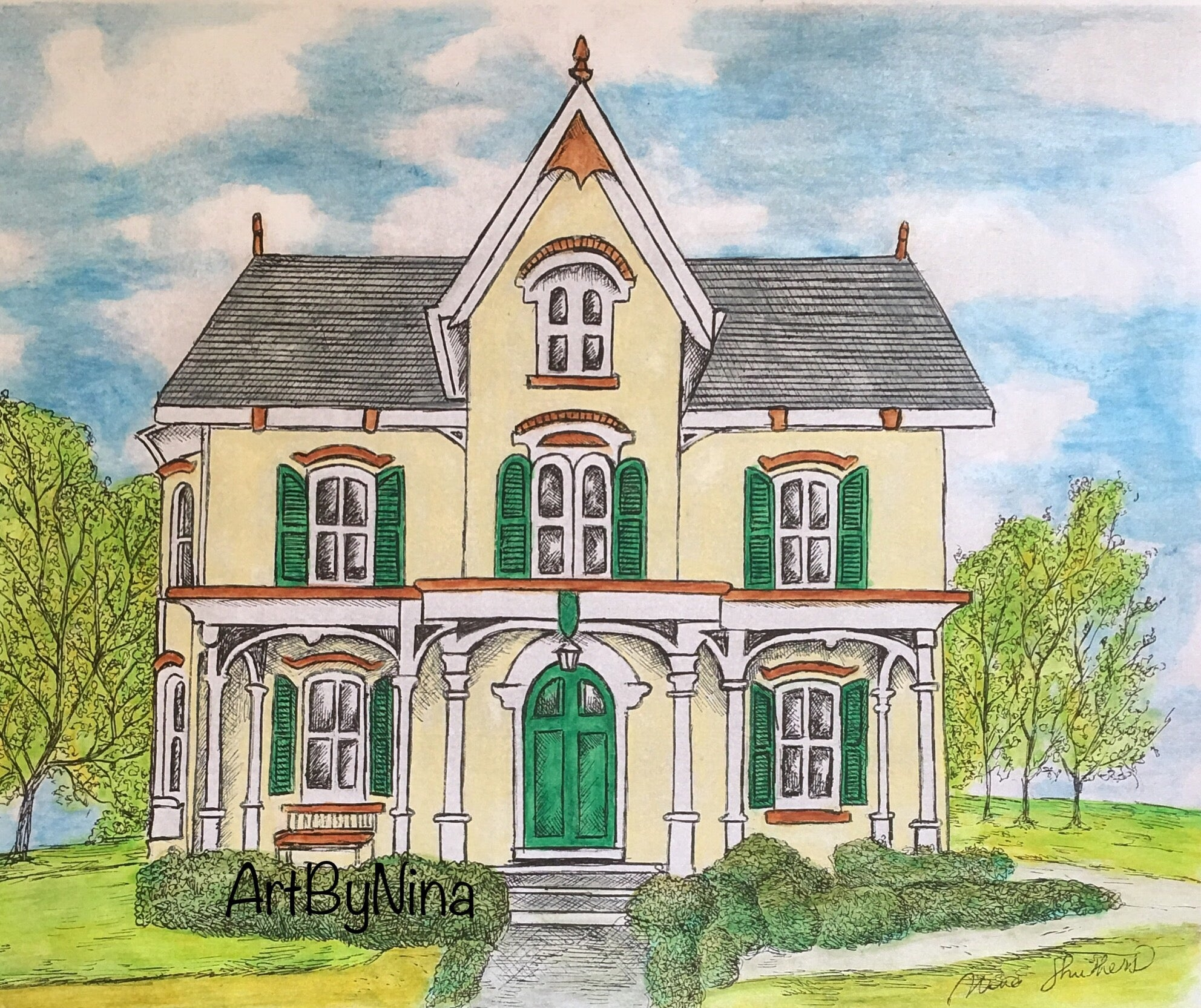 Architecture Print - Pale Yellow Cottage with Green Trim #177